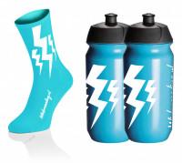 Lightning Kousen - Cyaan + 2x Lightning Drinkbussen - Blauw