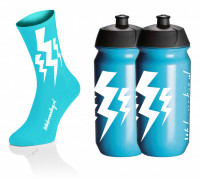 Lightning Kousen - Fluo Blauw + 2x Lightning Drinkbussen - Blauw