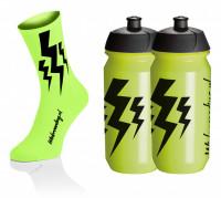 Lightning Kousen - Fluo Geel + 2x Lightning Drinkbussen - Geel
