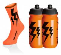 Lightning Kousen - Fluo Oranje + 2x Lightning Drinkbussen - Oranje