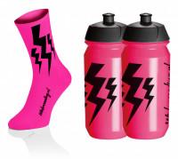 Lightning Kousen - Fluo Roze + 2x Lightning Drinkbussen - Roze