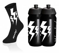 Lightning Kousen - Zwart + 2x Lightning Drinkbussen - Zwart